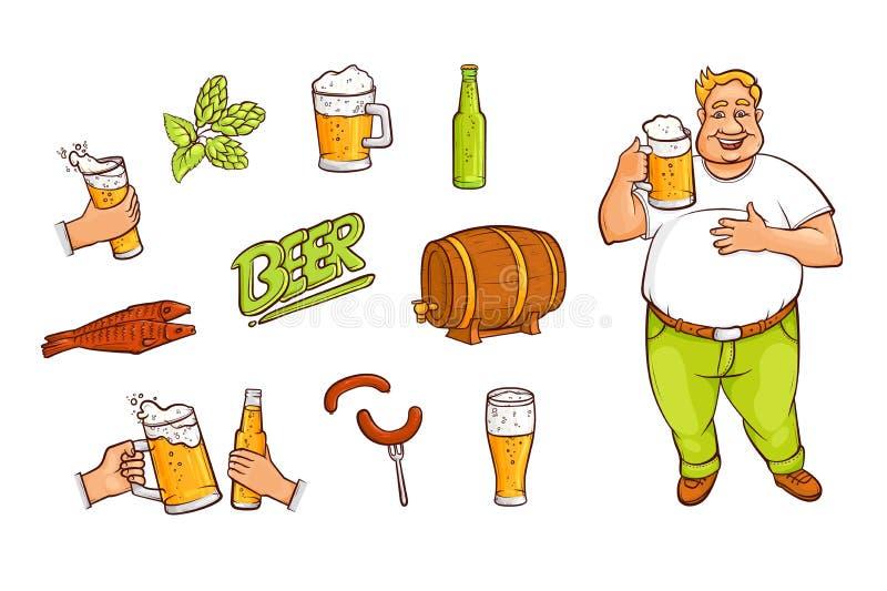 Ölflaskan rånar, exponeringsglas som dricker mannen, appetrizers stock illustrationer