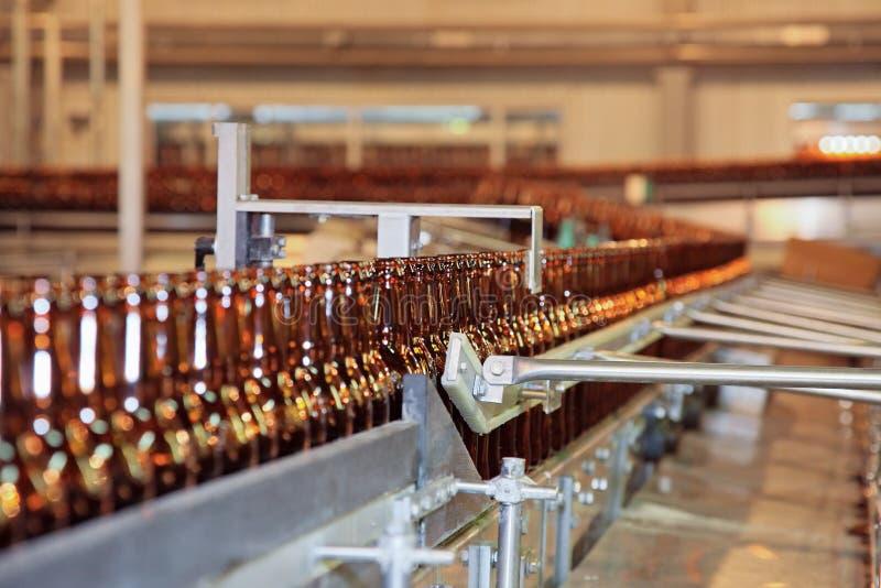 ölflaskatransportörlinje många royaltyfri bild