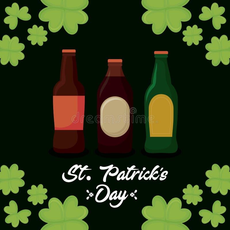 Ölflaskor av den St Patrick dagen royaltyfri illustrationer