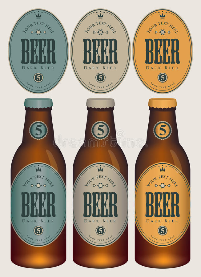 Ölflaskor för vektorprövkopia tre med etiketter vektor illustrationer