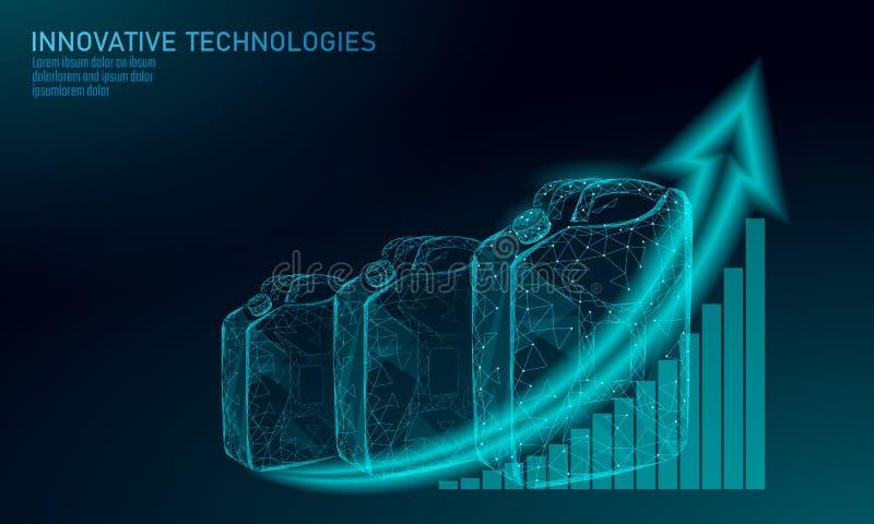 Ölgasflascheniedriges Polygeschäftskonzept MASCHINENenergie des polygonalen Treibstoffs der Finanzwirtschaft Selbst Erdölbrennsto stock abbildung