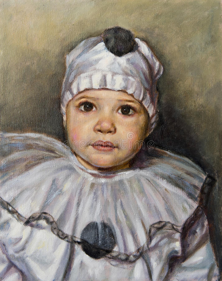 Ölgemälde eines Jungen gekleidet als Pierrot vektor abbildung