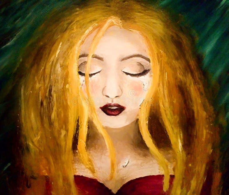 Ölgemälde eines jungen Mädchens mit Rissen auf einem dunklen Hintergrund lizenzfreie abbildung