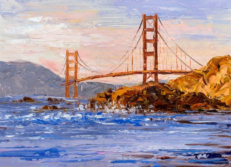 Ölgemälde - Goldene Brücke, San Francisco lizenzfreie stockfotografie