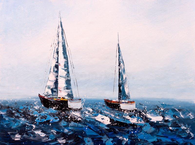 Ölgemälde - Segelboot stockfotos