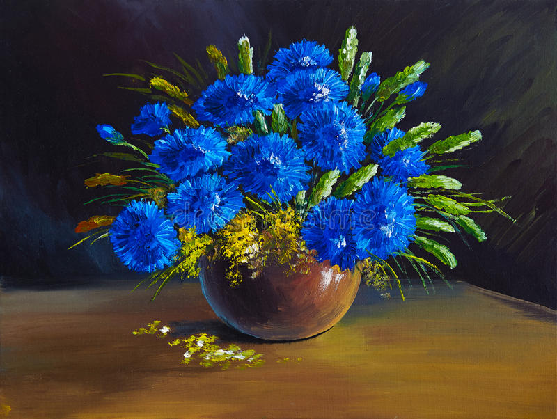 Ölgemälde - Stillleben, ein Blumenstrauß von Blumen, Wildflowers stockbild