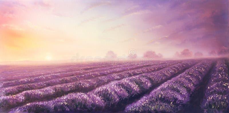 Ölgemälde von Lavendelfeldern auf Segeltuch Rote vibrierende Farben stockfoto