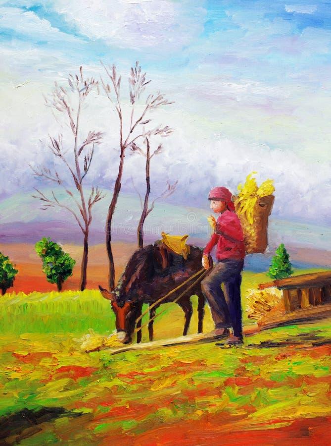 Ölgemälde - Weiden lassen des Pferds stock abbildung