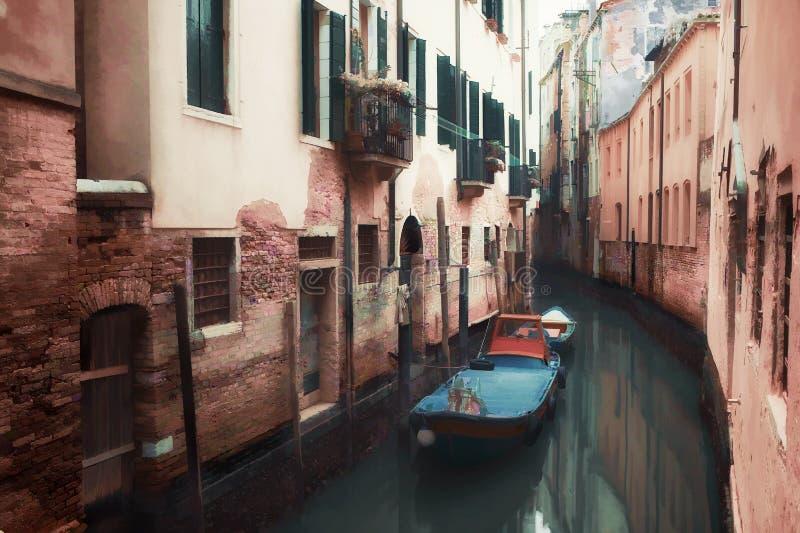 Ölgemäldeartbild des kleinen Kanals in Venedig lizenzfreie stockbilder