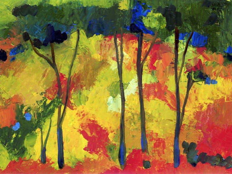 Ölgemäldeherbstbäume stock abbildung