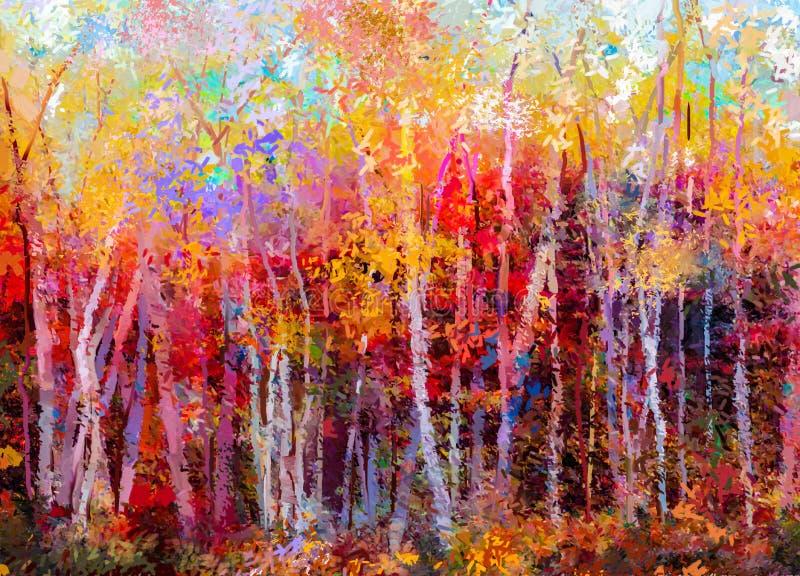 Ölgemäldelandschaft - bunte Herbstbäume vektor abbildung