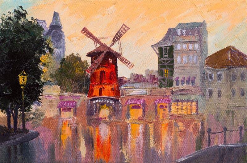 Ölgemäldestadtbild - Moulin Rouge, Paris, Frankreich bunt lizenzfreie abbildung