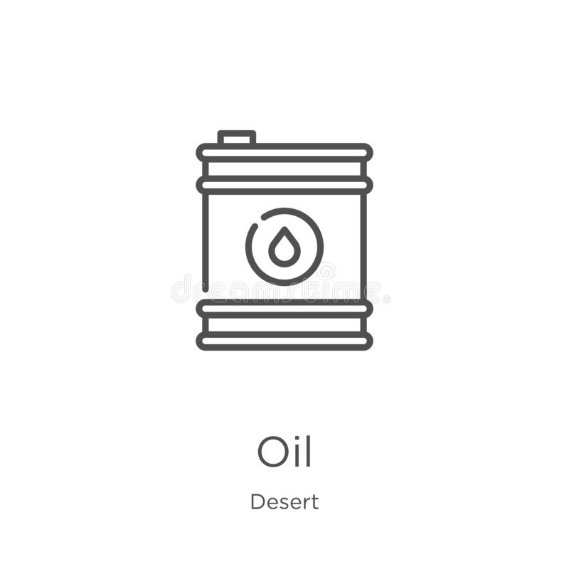 Ölikonenvektor von der Wüstensammlung D?nne Linie ?lentwurfsikonen-Vektorillustration Entwurf, d?nne Linie ?likone f?r Website lizenzfreie abbildung
