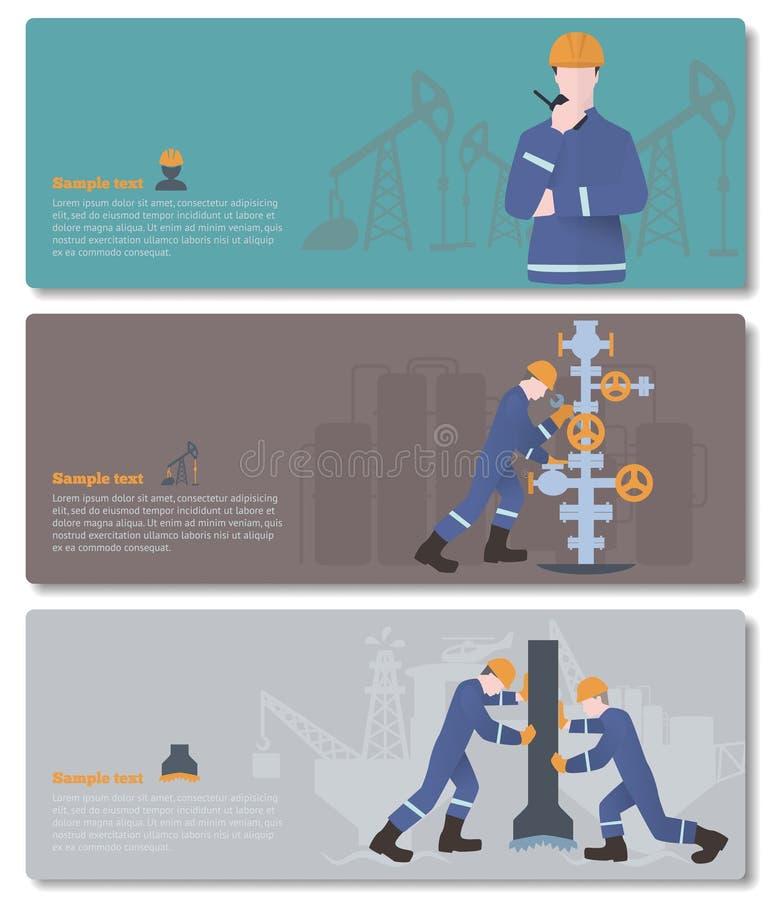 Ölindustrieller, Gasmann oder Öl und Gasindustriearbeitskraft auf Produktion vect lizenzfreie abbildung