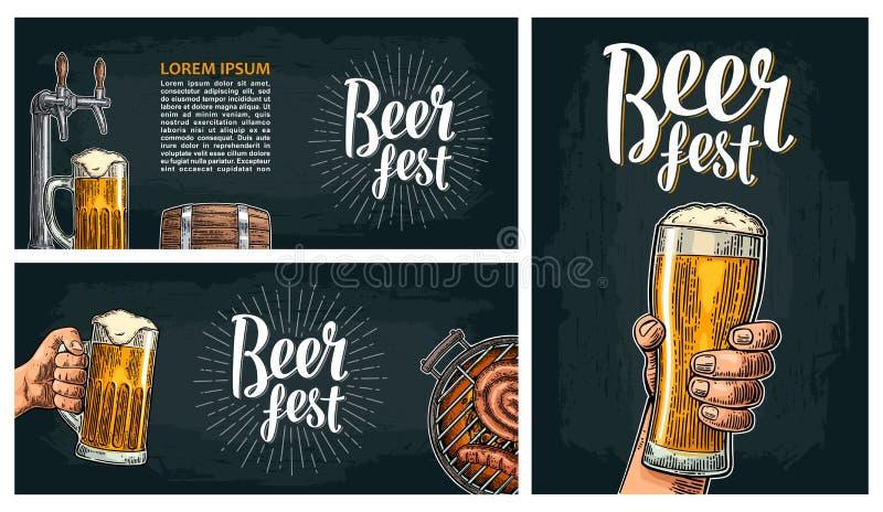 Ölklapp Illustration för tappningvektorgravyr för rengöringsduk, affisch, inbjudan till ölpartiet stock illustrationer