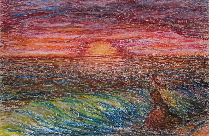 Ölkreiden, die auf Segeltuch der blonden Frau mit orange Kleid und orange Hut auf dem Strand betrachtet den Horizont während des  lizenzfreie stockbilder