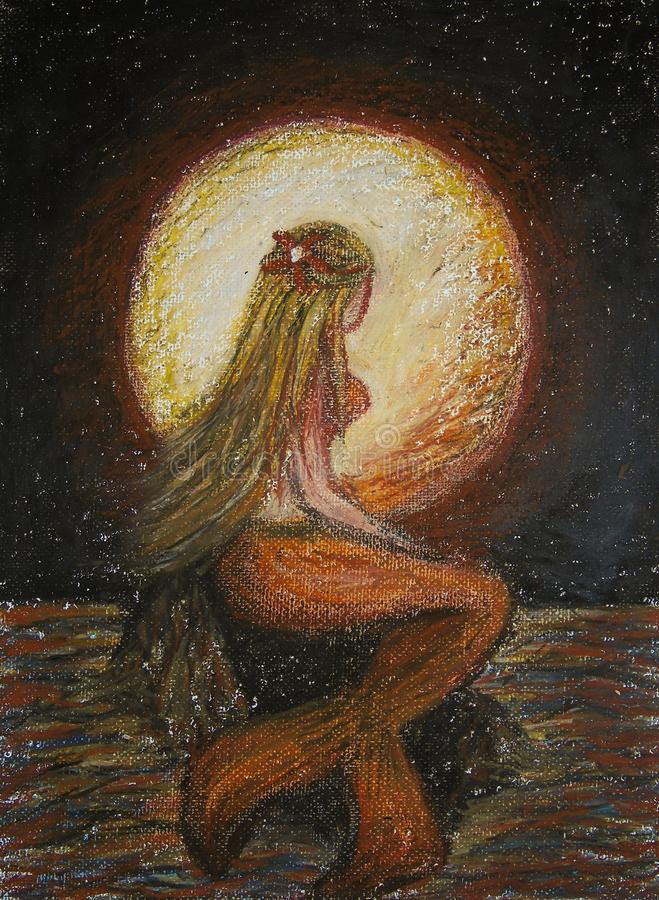Ölkreiden, die auf Segeltuch der blonden Meerjungfraustellung auf einem Felsen im Meer mit großem rotem Mond auf Hintergrund, Fan lizenzfreie abbildung