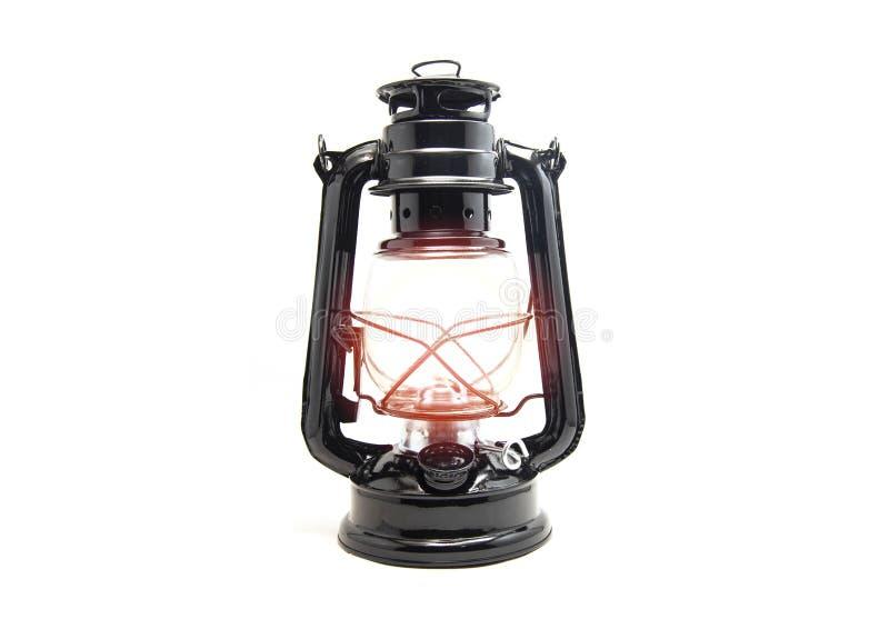 Öllampe lokalisiert auf weißem Hintergrund - klassisches Schwarzes der alten Laternenweinlese lizenzfreie stockbilder
