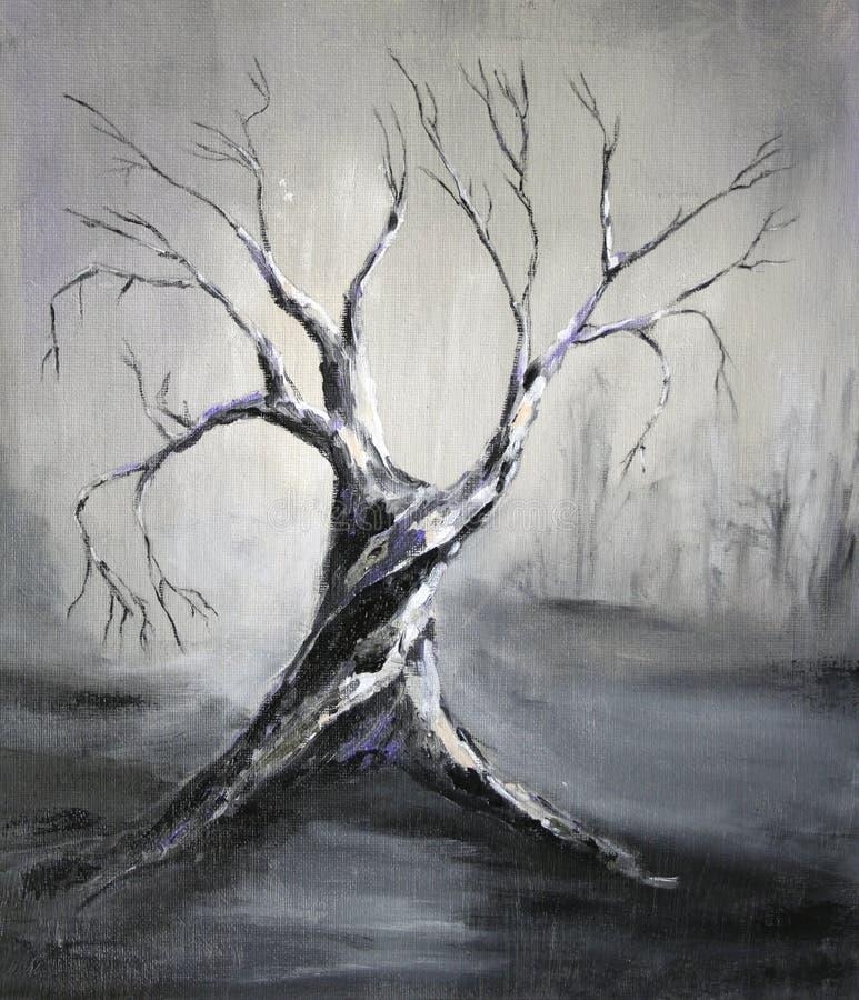 Ölmalerei mit dunklem Baum lizenzfreie abbildung