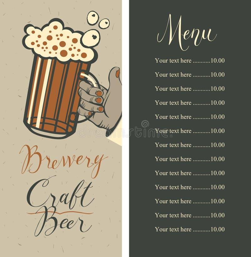 Ölmeny med prislistan och ölexponeringsglas i hand royaltyfri illustrationer