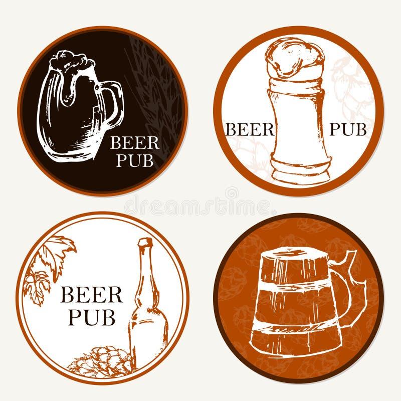 Ölmeny Retro kort eller reklamblad Etikett av öl Restaurangtema vektor illustrationer