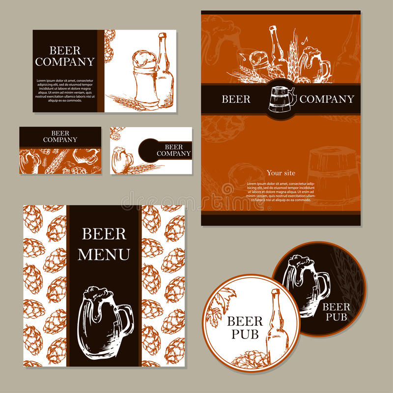 Ölmeny Retro kort eller reklamblad Restaurangtema samlingen för affärskort planlägger dynamiskt modernt också vektor för coreldra royaltyfri illustrationer