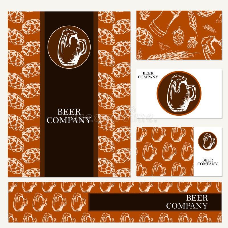 Ölmeny Retro kort eller reklamblad Restaurangtema vektor för stil för logo för illustration för affärskort corporative royaltyfri illustrationer