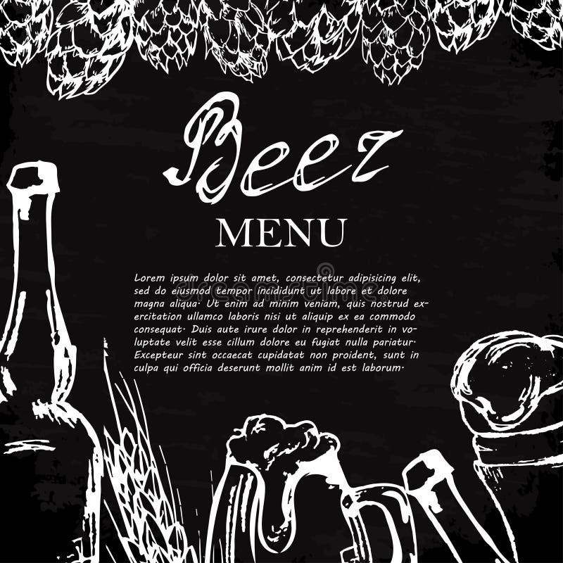 Ölmeny Retro kort eller reklamblad Restaurangtema Vektorillustr royaltyfri illustrationer