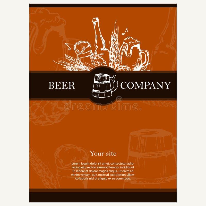 Ölmeny Retro kort eller reklamblad Restaurangtema Vektorillustr stock illustrationer
