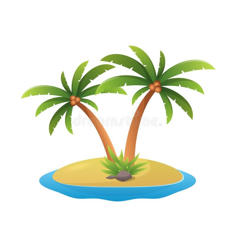 Ölogo - tropiska palmträd med bakgrund för vit för illustration för havsvågvektor stock illustrationer