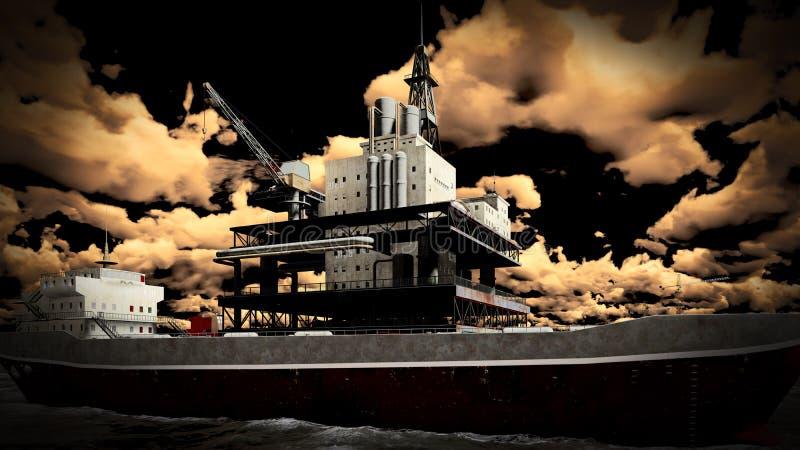 Ölplattform in Meer lizenzfreie stockfotografie