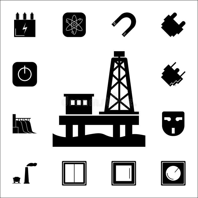 Ölplattform-Plattformikone Satz Energieikonen Erstklassige Qualitätsgrafikdesignikonen Zeichen und Symbolsammlungsikonen für Webs stock abbildung