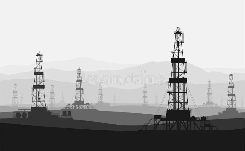 Ölplattformen am großen Ölfeld über Gebirgszug vektor abbildung