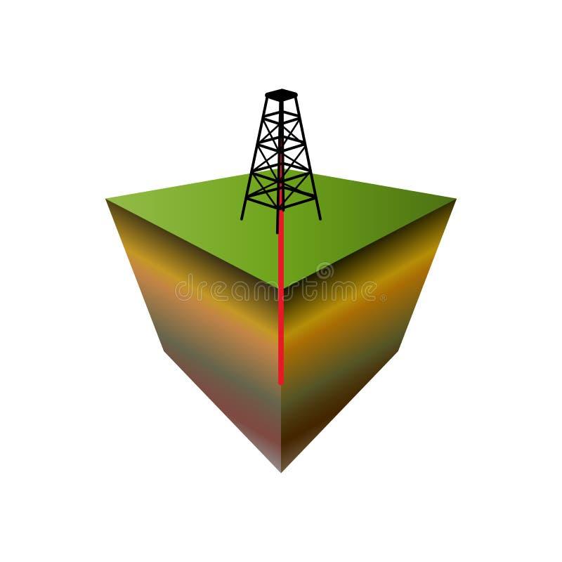 Ölplattformikone Modell 3D Bohrung der an Land für Öl und Gas; lizenzfreie abbildung