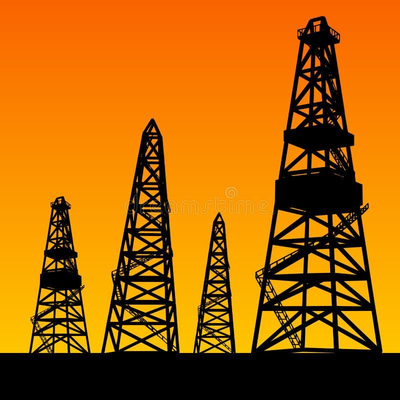 Ölplattformschattenbilder und orange Himmel stock abbildung