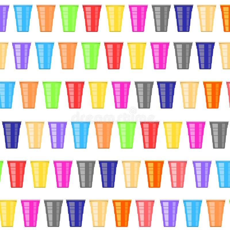 Ölpongturnering Färgrika Plastic koppar Rolig lek för parti Traditionella dricka Tid vektor illustrationer