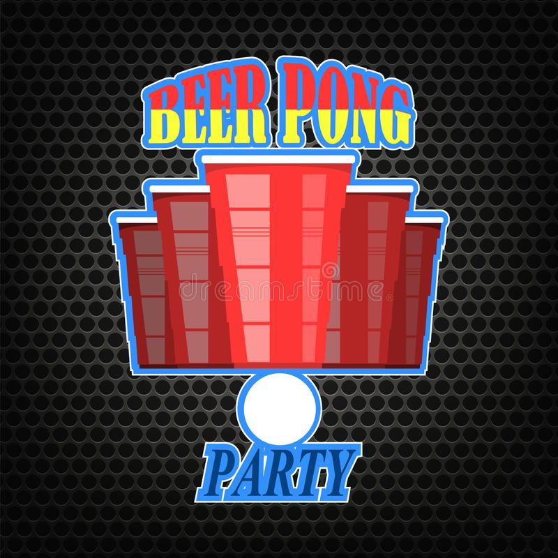 Ölpongturnering Röd plast- kopp- och vittennisboll på perforerad bakgrund vektor illustrationer