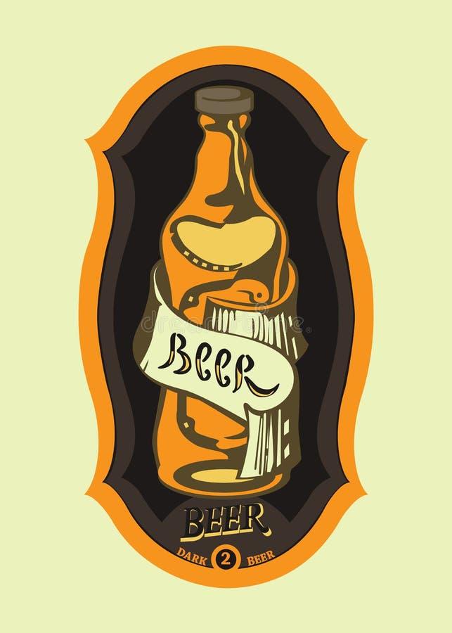 Öls etikett med botle stock illustrationer