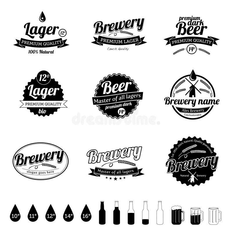 ölsamlingen märker tappning vektor illustrationer