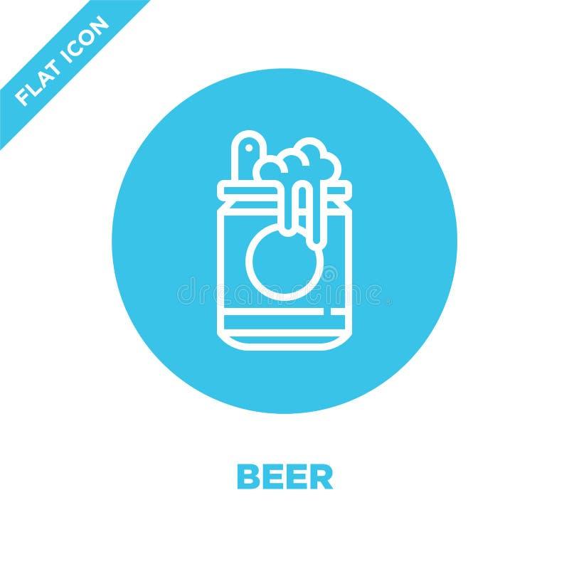ölsymbolsvektor från drycksamling Tunn linje illustration för vektor för ölöversiktssymbol Linjärt symbol för bruk på rengöringsd vektor illustrationer