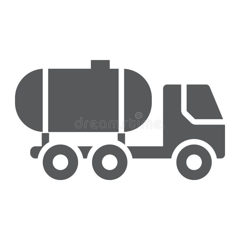 Öltank Glyphikone, Brennstoff und Auto, Öltransportzeichen, Vektorgrafik, ein festes Muster auf einem weißen Hintergrund vektor abbildung