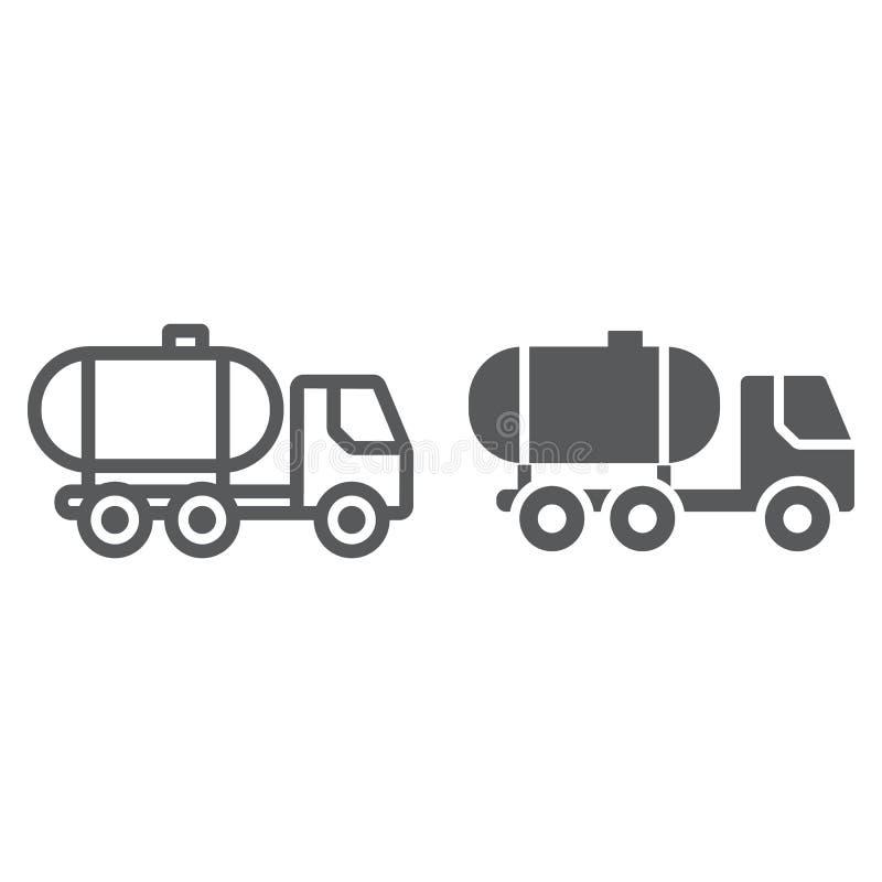 Öltanklinie und Glyphikone, Brennstoff und Auto, Öltransportzeichen, Vektorgrafik, ein lineares Muster auf einem weißen vektor abbildung