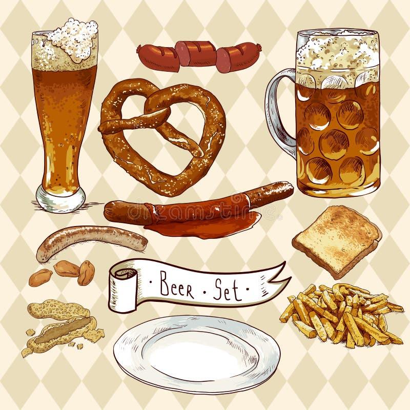 Öluppsättning med ölexponeringsglas, kringla, korvar stock illustrationer