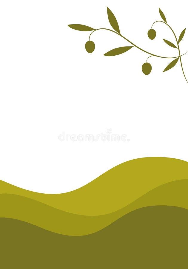 Ölzweig auf Landschaft mit gebogenen olivgrünen Linien im Hintergrund vektor abbildung