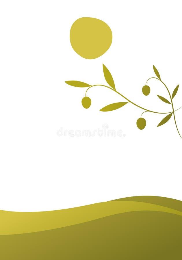 Ölzweig auf Landschaft mit gebogenen olivgrünen Linien im Hintergrund stock abbildung