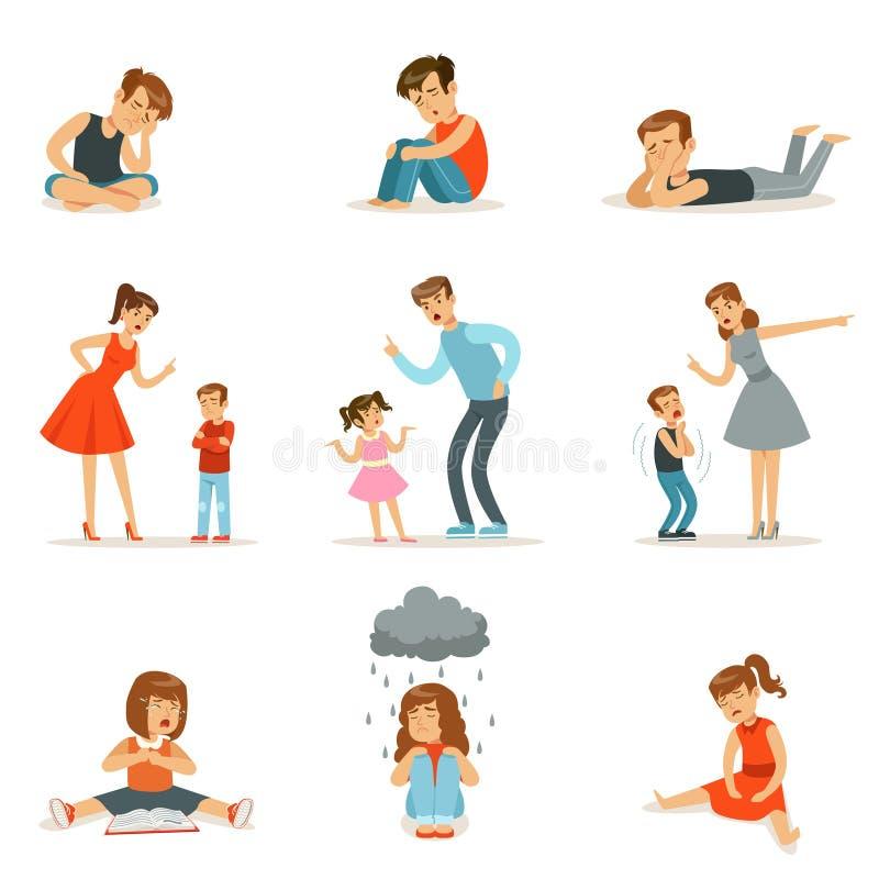 Ömsesidig förbindelse av föräldrar och barn, mamman och farsan skriker och grälar på deras barn, negativa barnsinnesrörelser royaltyfri illustrationer