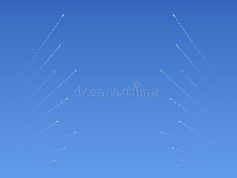 Ömsesidig salva av missiler av de krigande partierna vektor illustrationer