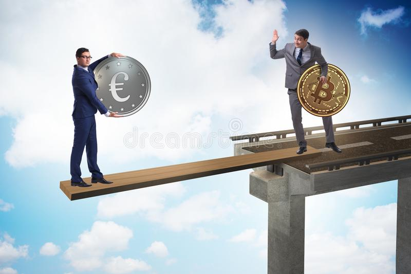 Ömsesidigt beroendebegreppet med två valutor royaltyfri bild
