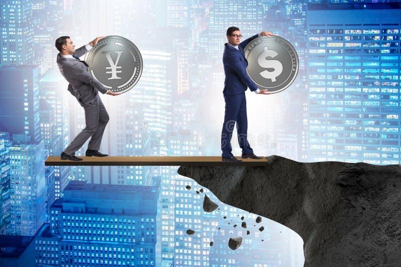 Ömsesidigt beroendebegreppet med två valutor arkivbilder