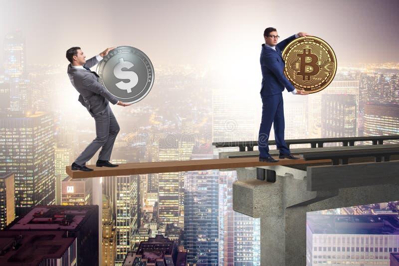 Ömsesidigt beroendebegreppet med två valutor arkivfoto